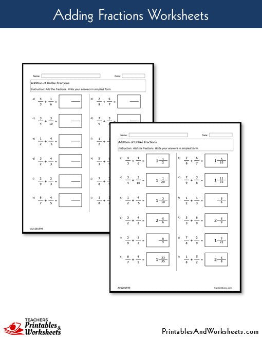 Adding Fractions Worksheets with Answer Keys Sample