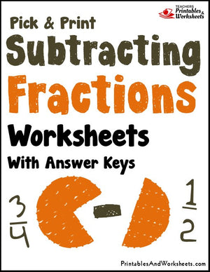 Subtracting Fractions Worksheets with Answer Keys