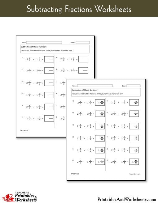math worksheet : subtracting fractions worksheets  printables  worksheets : Subtracting Fractions Worksheets With Answer Key
