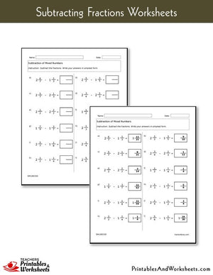 Subtracting Fractions Worksheets with Answer Keys Sample