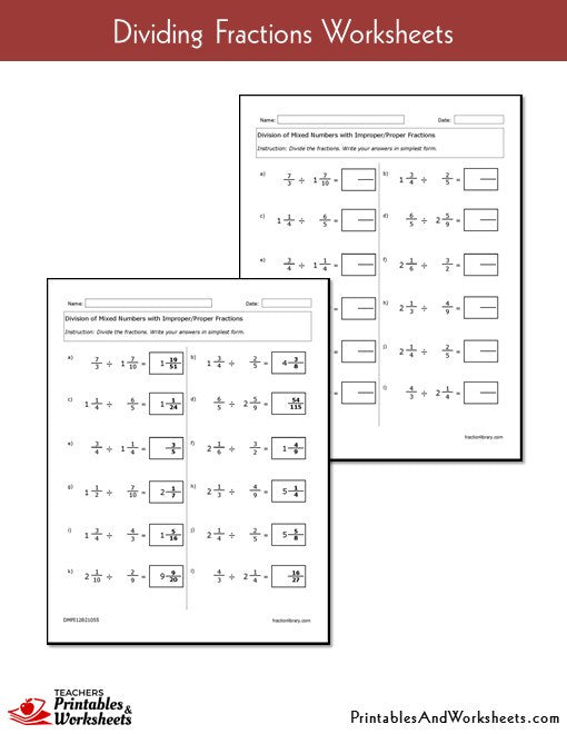 Dividing Fractions Worksheets with Answer Keys Sample