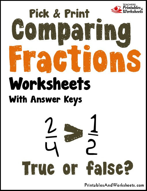 Comparing Fractions Comparison Worksheets