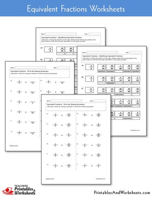 Equivalent Fractions Worksheets Sample