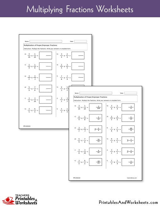 Multiplying Fractions Worksheets
