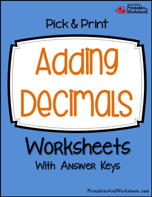 Adding Decimals Worksheets Cover