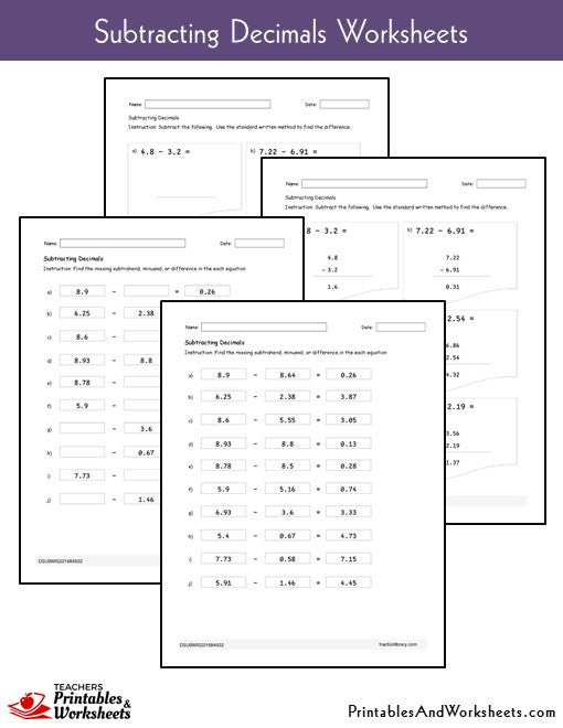 Subtracting Decimals Worksheets Sample