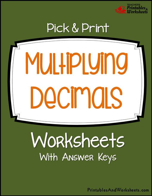 Multiplying Decimals Worksheets Cover