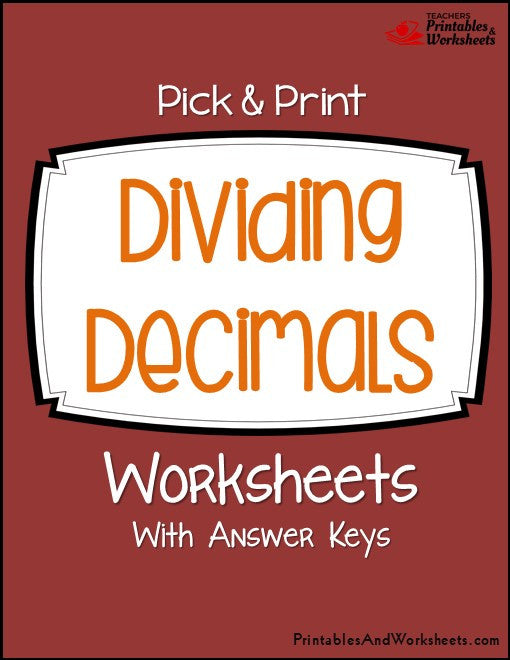 Dividing Decimals Worksheets Cover