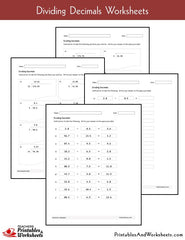 Dividing Decimals Pick & Print Worksheets