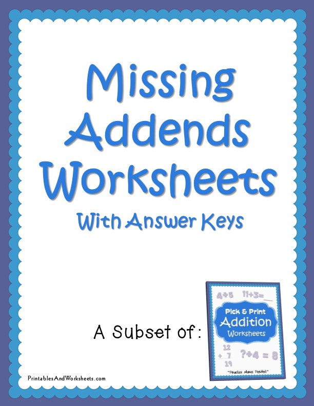 Missing Addends Worksheets with Answer Keys Cover