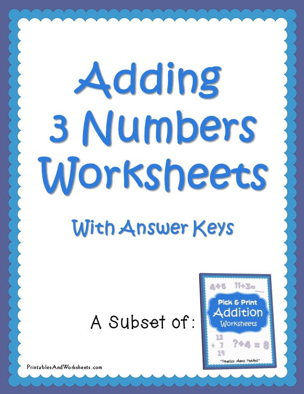 Adding 3 Numbers Worksheets Cover