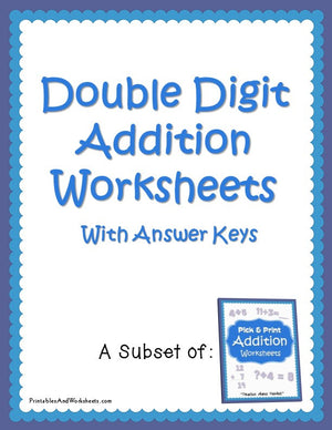 Double Digit Addition Worksheets with Answer Keys Cover