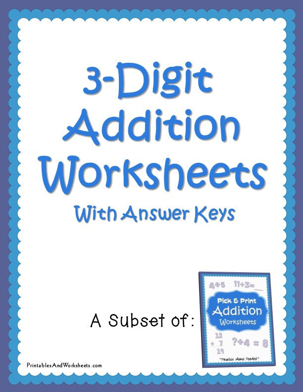 3 Digit Addition Worksheets Cover