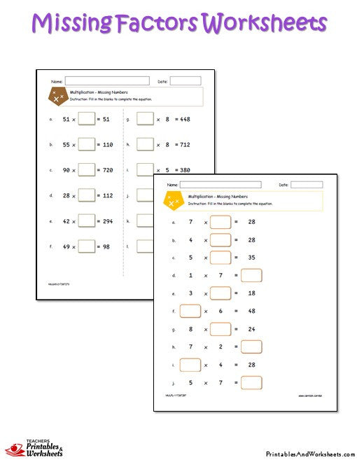 Missing Factors Worksheets Printables Worksheets