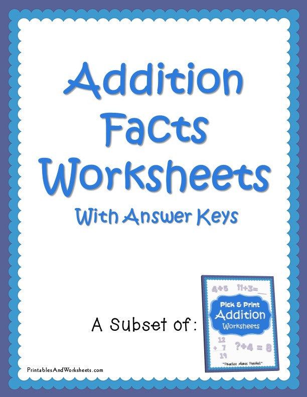 Addition Facts Worksheets with Answer Keys Cover