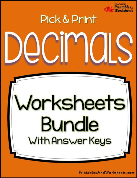 Decimals Worksheets Bundle Cover