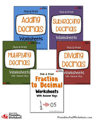 Pick & Print Decimals Worksheets Bundle