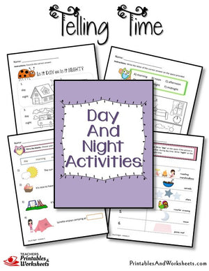Telling Time Printable Worksheets Day and Night Activities