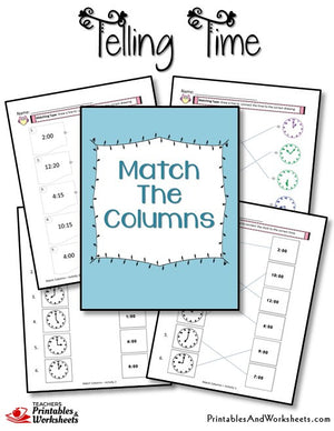Telling Time Printable Worksheets Match the Columns