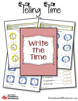 Telling Time Printable Worksheets Write The Time