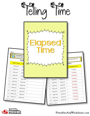 Telling Time Printable Worksheets Elapsed Time