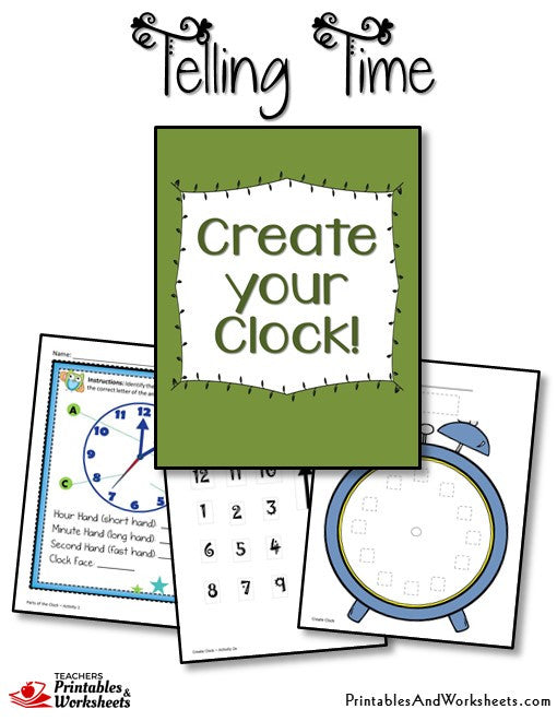 telling time printable worksheets create your clock