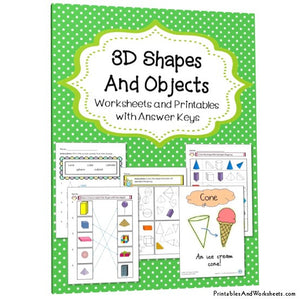 3d Shapes and Objects Worksheets and Activities Cover