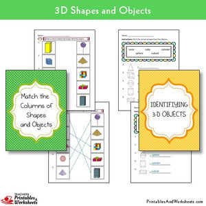 Match the Columns of Shapes and Objects, Identifying 3d Shapes