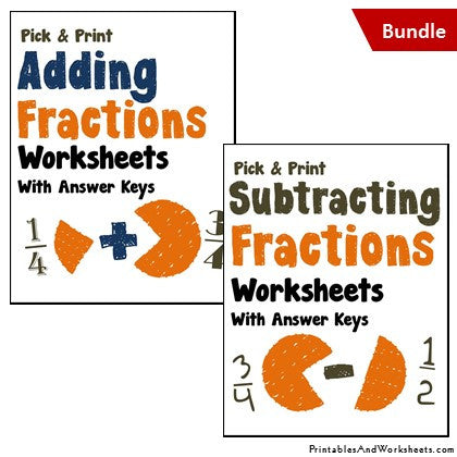 math worksheet : adding and subtracting fractions worksheets bundle  printables  : Subtracting Fractions Worksheets With Answer Key