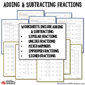 Adding and Subtracting Fractions Worksheets with Answer Keys Sample