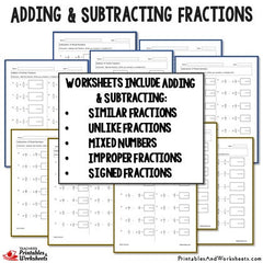 adding and subtracting fractions worksheets bundle  printables  adding and subtracting fractions worksheets bundle