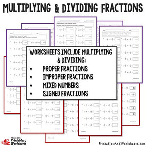 Multiplying and Dividing Fractions Worksheets Sample