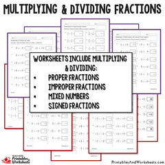 Multiplying and Dividing Fractions Worksheets Bundle