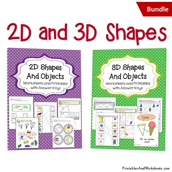 Free Worksheets 2d and 3d shapes worksheets for grade 3 : 2D and 3D Shapes Worksheets Bundle - Printables u0026 Worksheets