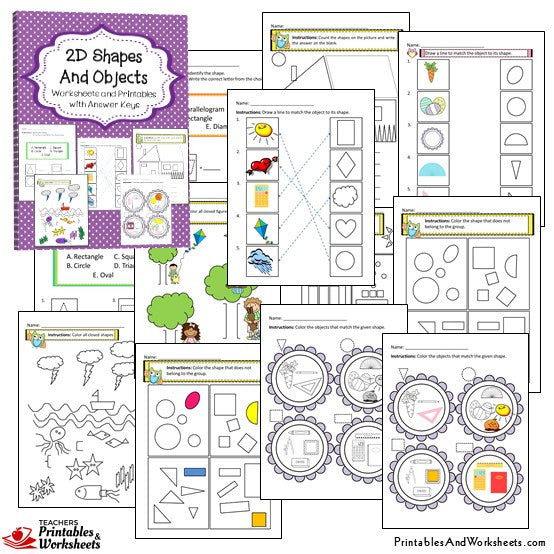 2D and 3D Shapes and Objects Worksheets Sample 1