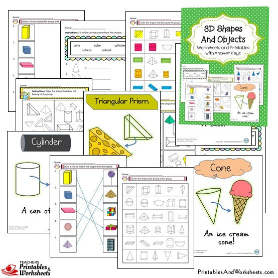 2D and 3D Shapes and Objects Worksheets Sample 2