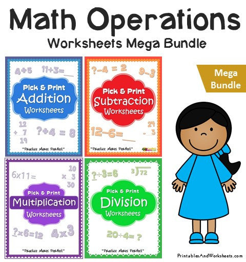 Math Basic Operations Addition Subtraction Multiplication Division Worksheets Bundle Cover