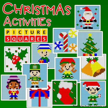 Christmas Color-By-Number Coloring Activities Mystery Pictures Worksheets Cover