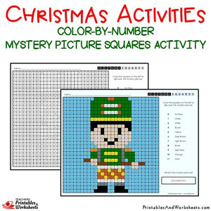 Christmas Color-By-Number Coloring Activities Mystery Pictures Worksheets Sample 1