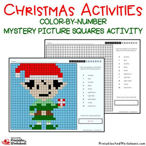 Christmas Color-By-Number Coloring Activities Mystery Pictures Worksheets Sample 2