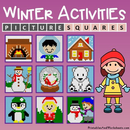 Winter Coloring Activities Color-by-Number Mystery Pictures Worksheets Cover