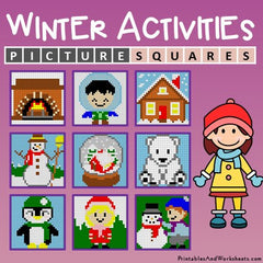 Winter Color-By-Number Mystery Pictures Activities