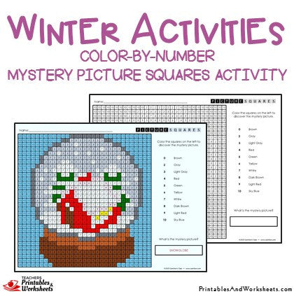 Winter Coloring Activities Color-by-Number Mystery Pictures Worksheets Sample 1