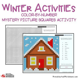Winter Coloring Activities Color-by-Number Mystery Pictures Worksheets Sample 2