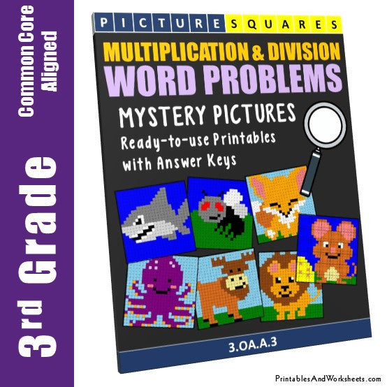 3rd Grade Multiplication and Division Word Problems Coloring Worksheets