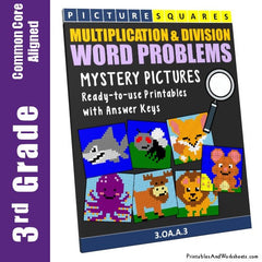 3rd Grade Multiplication and Division Word Problems Mystery Pictures Coloring Worksheets