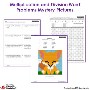3rd Grade Multiplication and Division Word Problems Coloring Worksheets - Fox