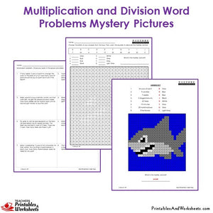 3rd Grade Multiplication and Division Word Problems Mystery Pictures - Shark