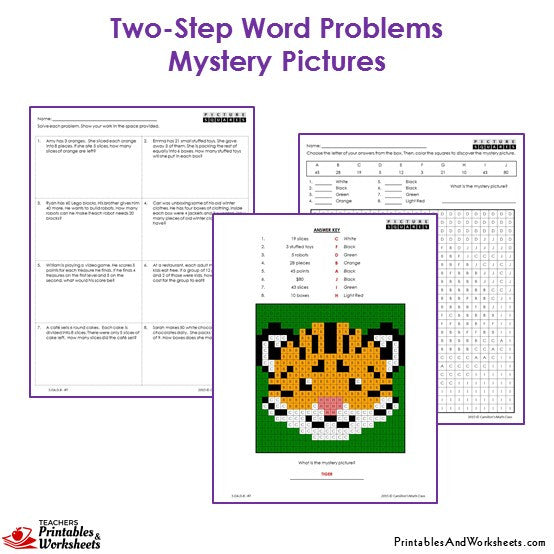 Grade 3 Two Step Word Problems Mystery Pictures Coloring Worksheets - Tiger
