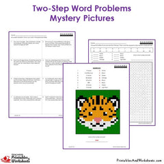 3rd Grade Two Step Word Problems Mystery Pictures Coloring Worksheets